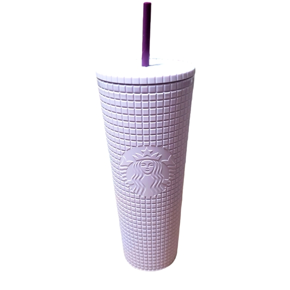 Starbucks Matte Lilac Grid Tumbler Cup 24oz NEW
